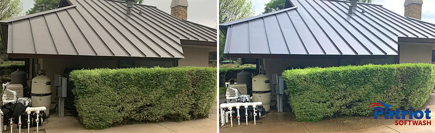 Patriot SoftWash - Colleyville metal roof cleaning before & after